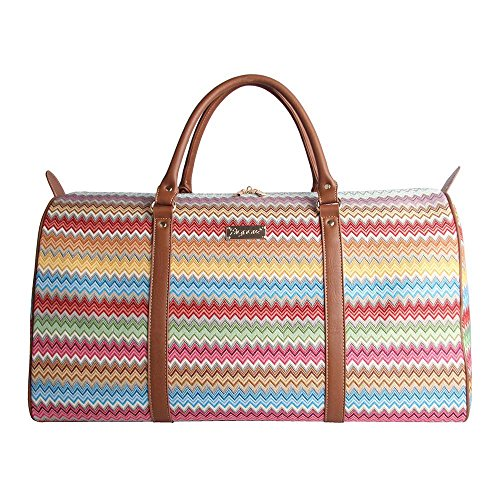 Signare Tapestry Women's Big Holdall Carry On Travel Luggage Bag Aztec Zigzag Rainbow Pattern (BHOLD-AZT)