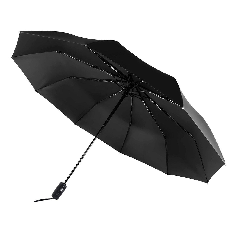 Saiveina Travel Umbrella, Compact Auto Open Close Windproof Rain Umbrella with Teflon Coating WISH Direct