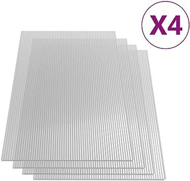vidaXL 4x Polycarbonatplatte Doppelstegplatten Hohlkammerplatten Polycarbonat Stegplatten Hohlkammerplatte Doppelstegplatte 4mm 113x60,5cm