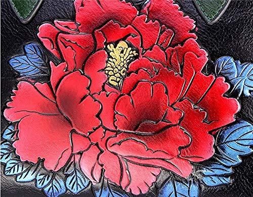 Impresión Correa De Bolsa Ajustable Yyddt Cuero Mano Crossbody Red Bolso Hombro Pintado Retro Mujer Peonía Desmontable Pu YvqqWS1Tn