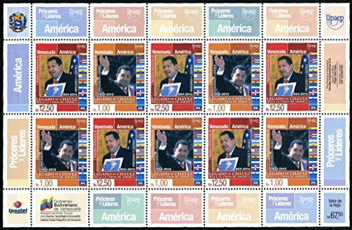 2014-venezuela-emision-upaep-proceres-y-lideres-hugo-chavez-full-sheet-stamps