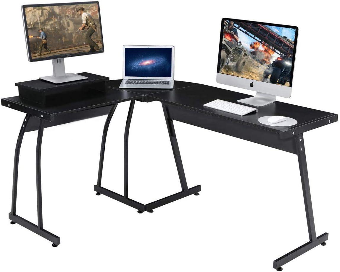 Umekesa Black Gaming Desk Corner Computer Office Desk PC Laptop Table for Playroom Bedroom or Writing Workstation Black