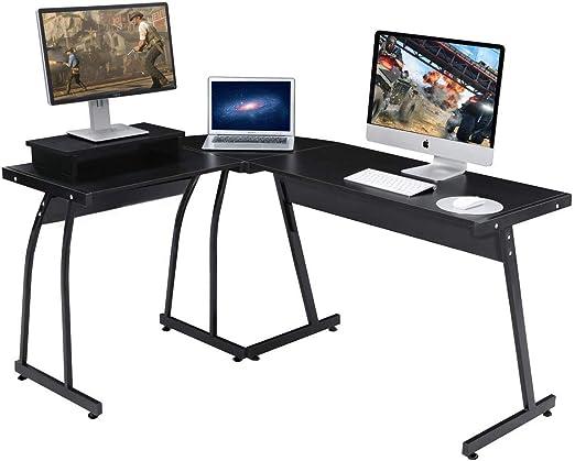 Cocoarm Color Negro Mesa de Ordenador con Soporte para Teclado con 4 Ruedas 80 x 48 x 76 cm Mesa de Trabajo