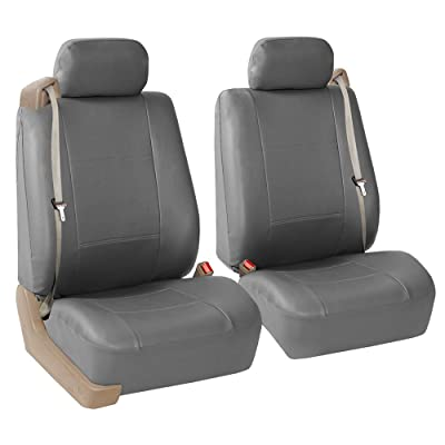 FH Group PU309SOLIDGRAY102 Gray Front PU Leather Seat Cover, Set of 2 (Built in Seat Belt Compatible Airbag Ready Solid): Automotive