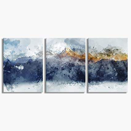 Abstract Canvas Wall Art For Living Room Modern Navy Blue Abstract Mountains Print Poster Picture Artworks For Bedroom Bathroom Kitchen Wall Decor 3 Pieces Framed Ready To Hang Amazon Co Uk Welcome