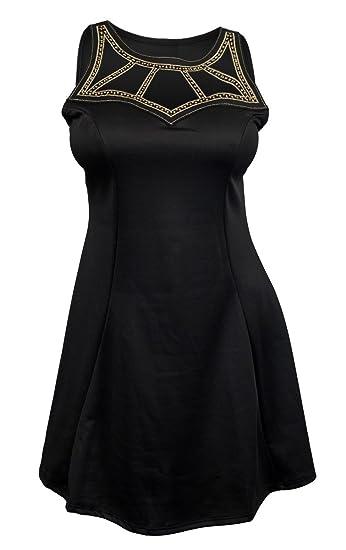 7c607b26dc8 Amazon.com  eVogues Plus Size Embellished Slimming Cutout Mini Dress Black   Clothing