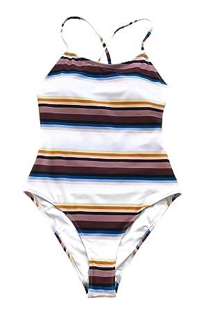 1af6a1e55f64e CUPSHE Women's Maroon Stripe Cross Back High Leg One-Piece Swimsuit Small