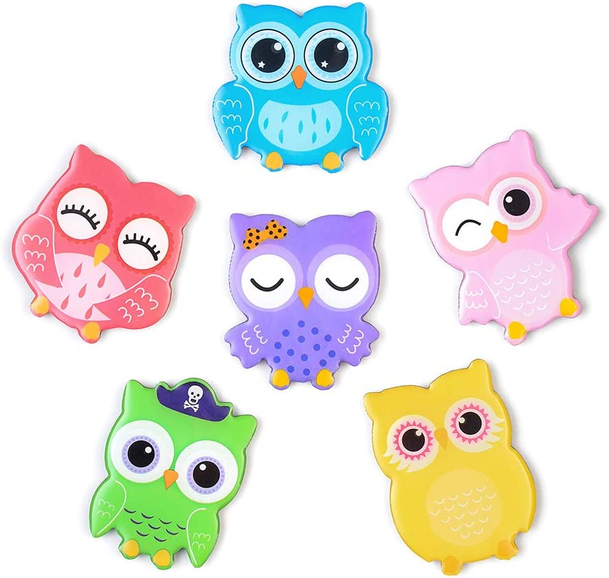 MORCART Fridge Magnets 6 Animals for kids,Strong Decorative Magnets for Dishwasher (Owl Colorful)