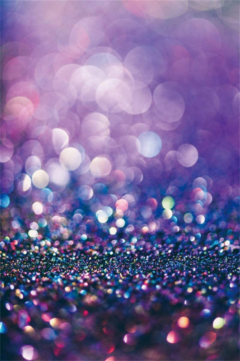 YEELE 6x8ft Glitter Purple Bokeh Photography Background Colorful Blurred Abstract Backdrop Birthday Wedding New Year Christmas Picture Kids Adults Artistic Portrait Photoshoot Studio Props