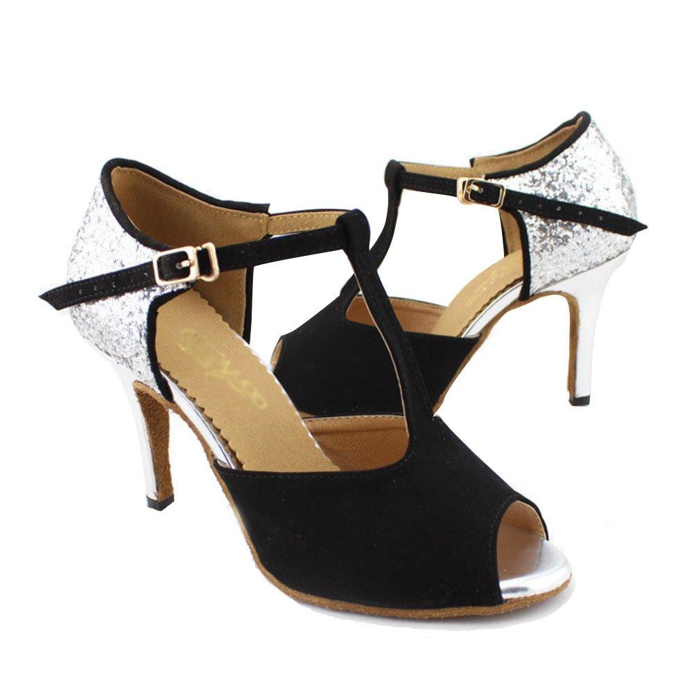 WYMNAME Damenschuhe Latin Tanzschuhe,Mittleren Heels Internationalen Standard Gesellschaftstanz Schuhe Schwarz Sandale Schwarz Schuhe a5c691