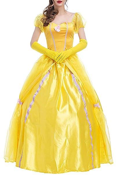 KINDOYO Niñas Princesa Dorada Belleza Traje Mágico Fantasía Vestir Halloween Carnaval Vestido, Amarillo