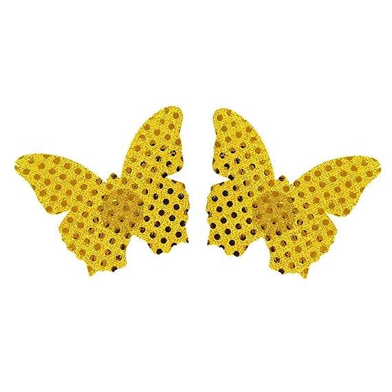 Cinnamou 5 Pares Mujer Respirable Mariposa Cojín de Pezoneras Adhesivas Tela Push Up usar y tirar
