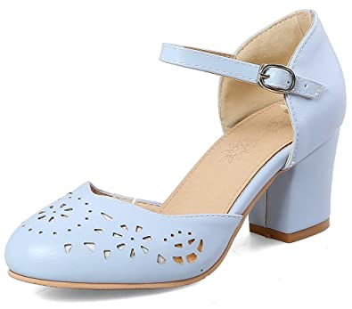 964344087e SFNLD Women's Sweet Hollow Out Round Toe Low Cut Mid Block Heels Ankle Strap  Sandals Blue