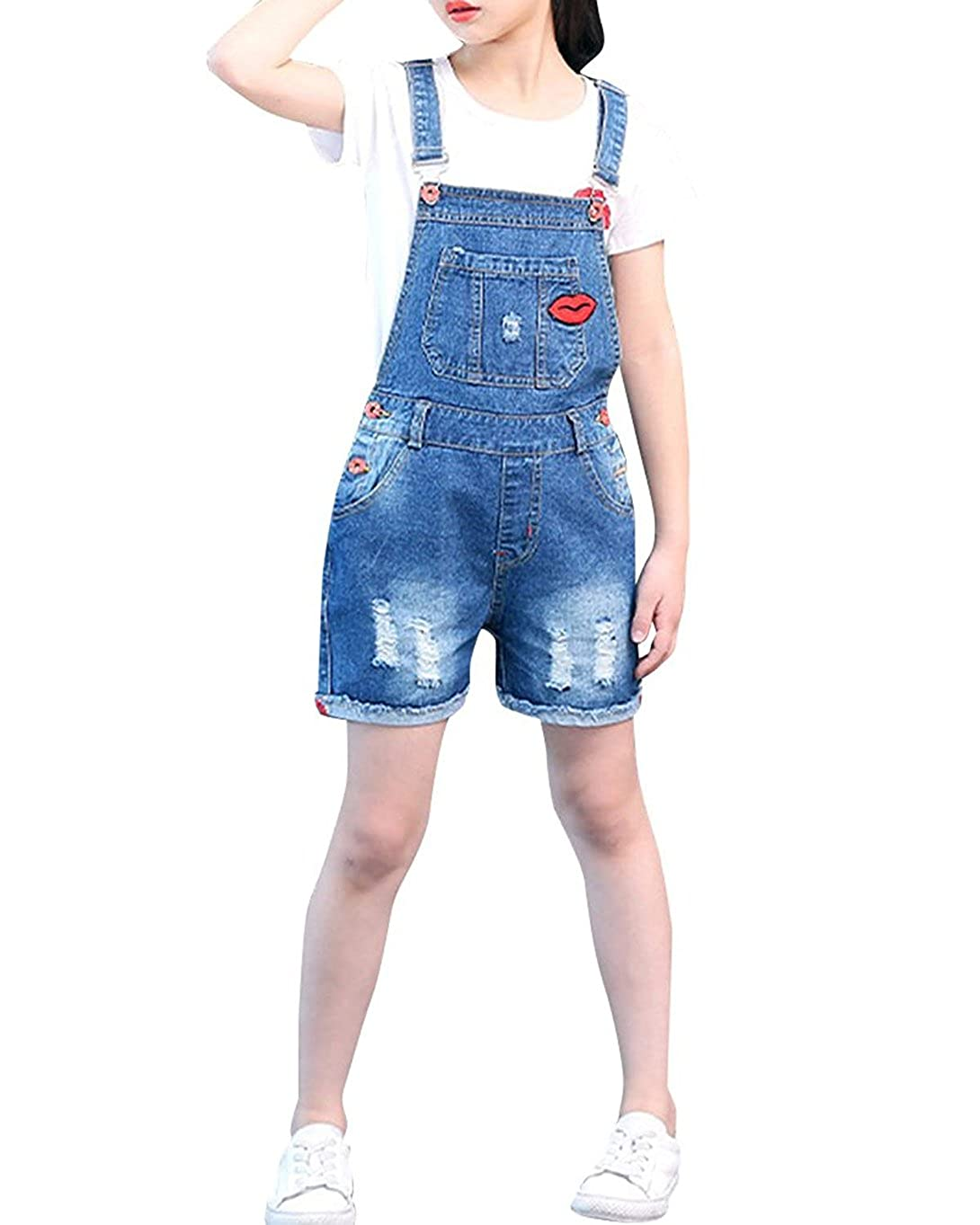 Kids Girls Denim Stretch Dungaree Shorts Summer Ripped Boyfriend Jeans Jumpsuit Playsuit for Age 7 8 9 10 11 12 13
