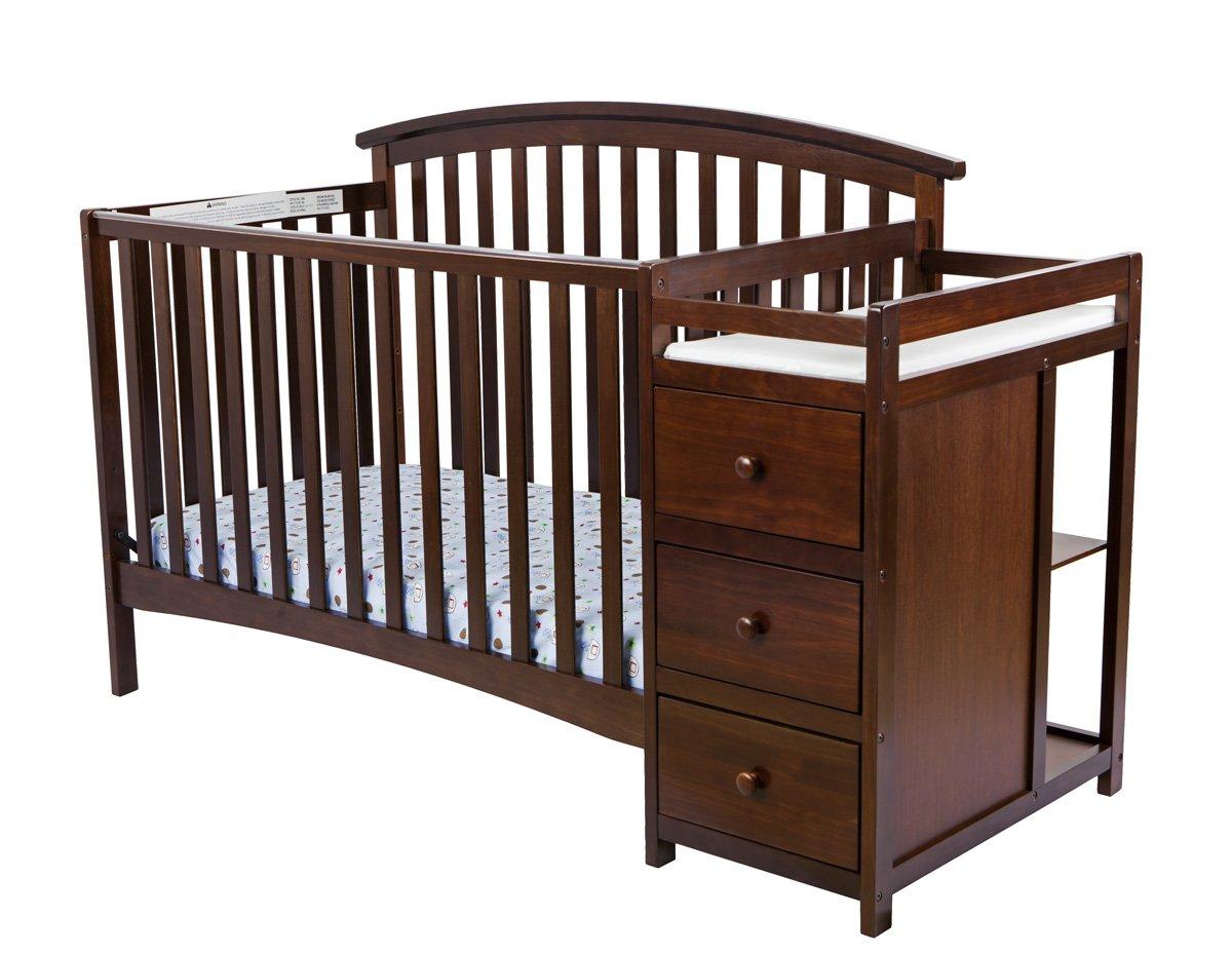 Dream On Me Niko 5-in-1 Convertible Crib with Changer, Espresso