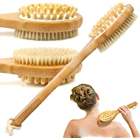 Esarora Bath Brush, Bamboo Bath Brush For Back Scrubber Soft Natural Bristles Back Brush With Long Handle For Exfoliating Skin & Wood Beads For Massage - Use Wet Or Dry - Suitable For Men And Women