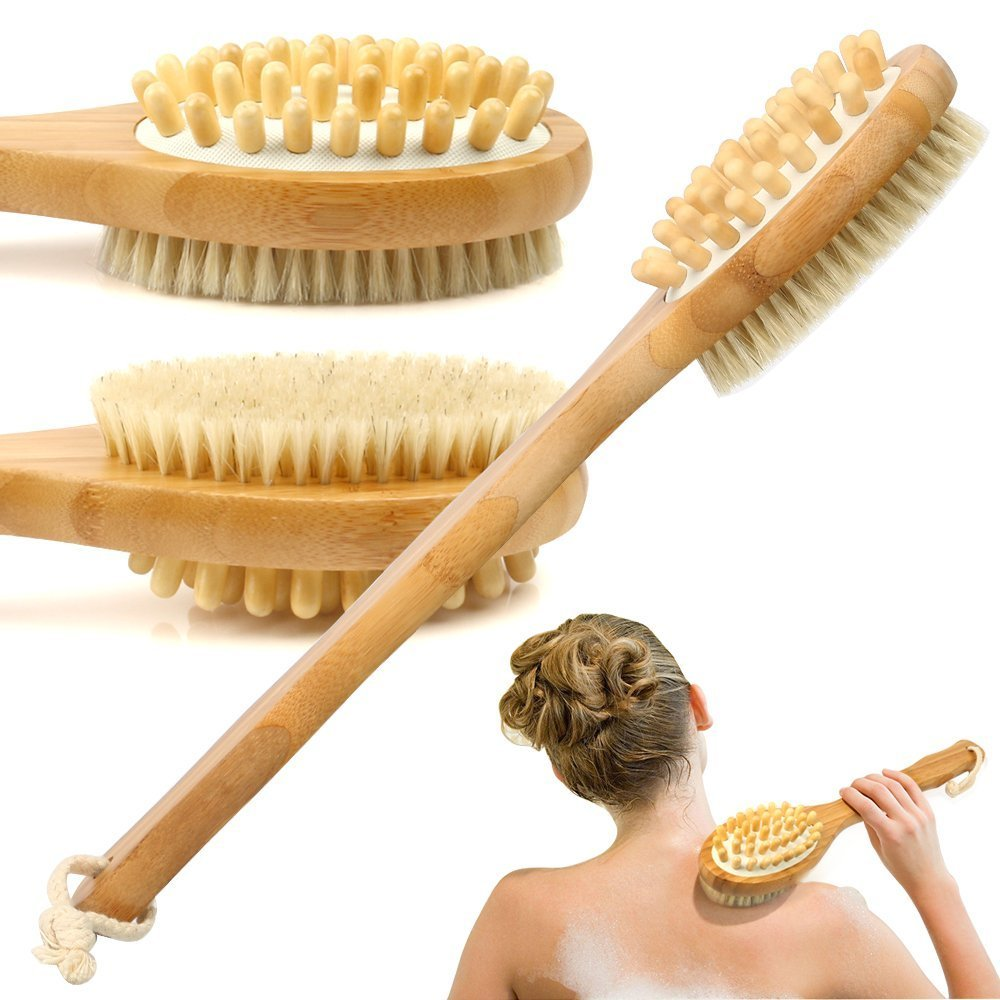 Bath Brush, Bamboo Bath Brush for Back Scrubber ESARORA Soft Natural Bristles Back Brush with Long Handle for Exfoliating Skin & Wood Beads for Massage - Use Wet or Dry - Suitable for Men and Women