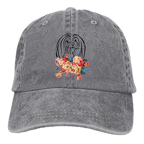 Arsmt Lhasa Apso Flowers Denim Hat Adjustable Women's Snapback Baseball Cap ()