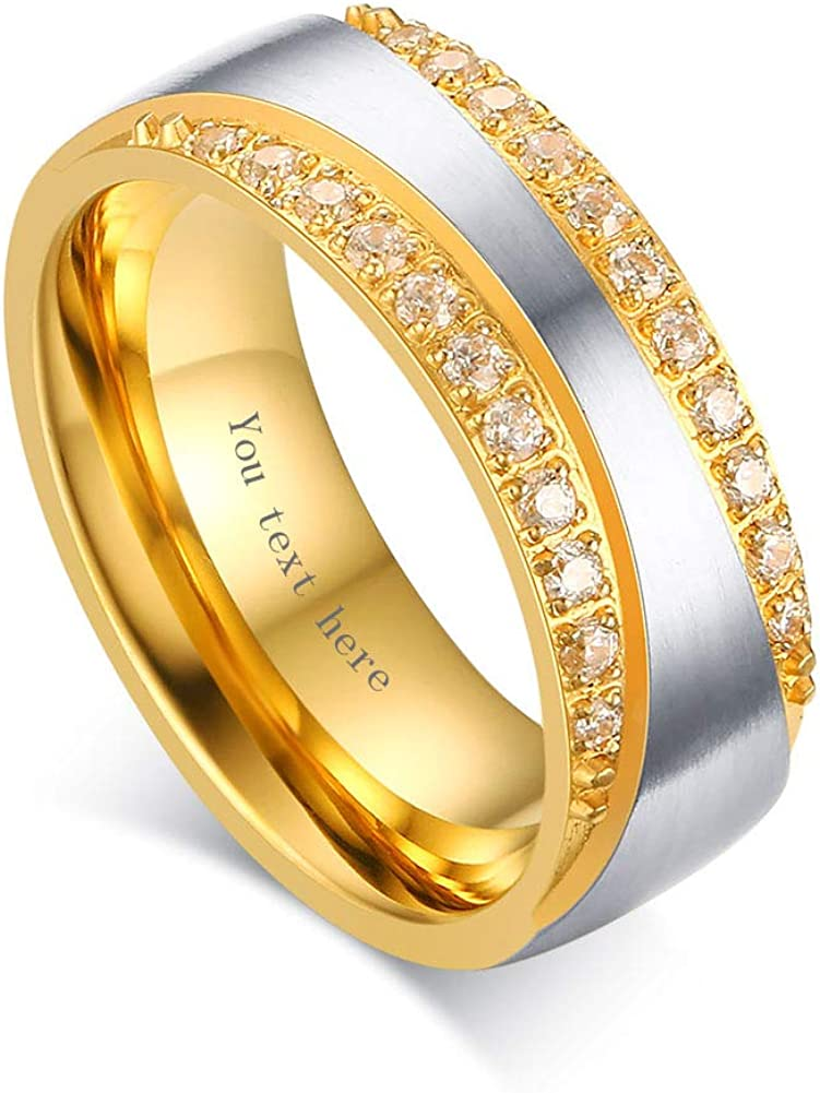 VNOX Customize Cubic Zirconia Gold Plated Stainless Steel Couple Rings for Wedding Band Engagement Promise