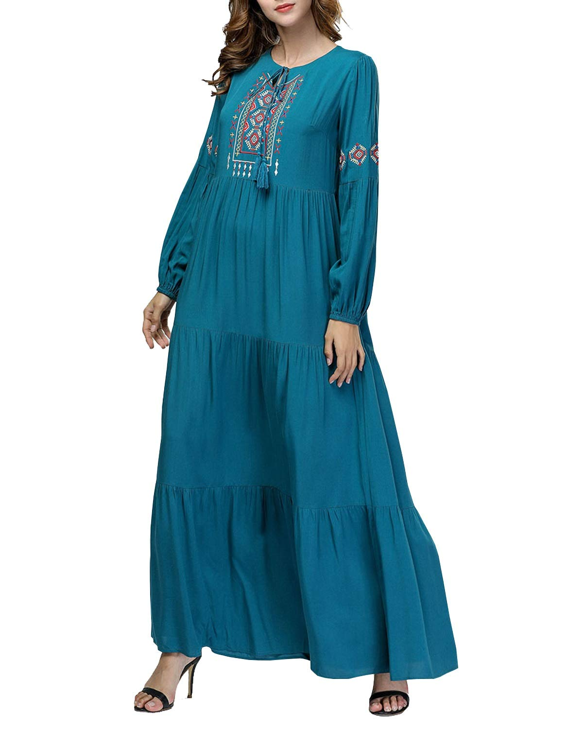 Dark Green Kirabon Women's Casual Long Sleeve Embroidered Maxi Dress