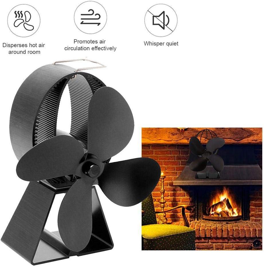 MODGS Ventilador de Estufa de 4 Palas Alimentado por Calor, Ventilador de Horno de energía térmica para leña/leña/Chimenea, Respetuoso del Medio Ambiente, Negro Good