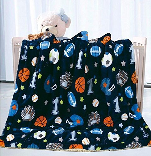 - Fancy Linen Faux Fur and Flannel Baby Blanket with Sherpa Backing Warm and Cozy Stroller or Toddler Bed Blanket 40