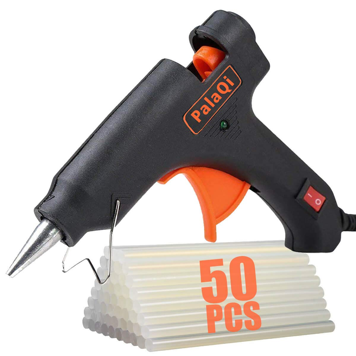 PalaQi Hot Glue Gun,Mini Glue Gun Kit with 50pcs Glue Sticks 20 Watts High Temperature Glue Gun for Artistic Creation Crafts Gifts Sealing DIY Small Craft Projects and Home School Office Quick Repairs