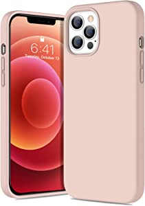 Diaclara Compatible with iPhone 12 Pro Max Case(6.7 Inch,2020), Slim Thin Liquid Silicone Rubber Gel Case with Shockproof Full Body Protection Designed for iPhone 12 Pro Max,Sand Pink
