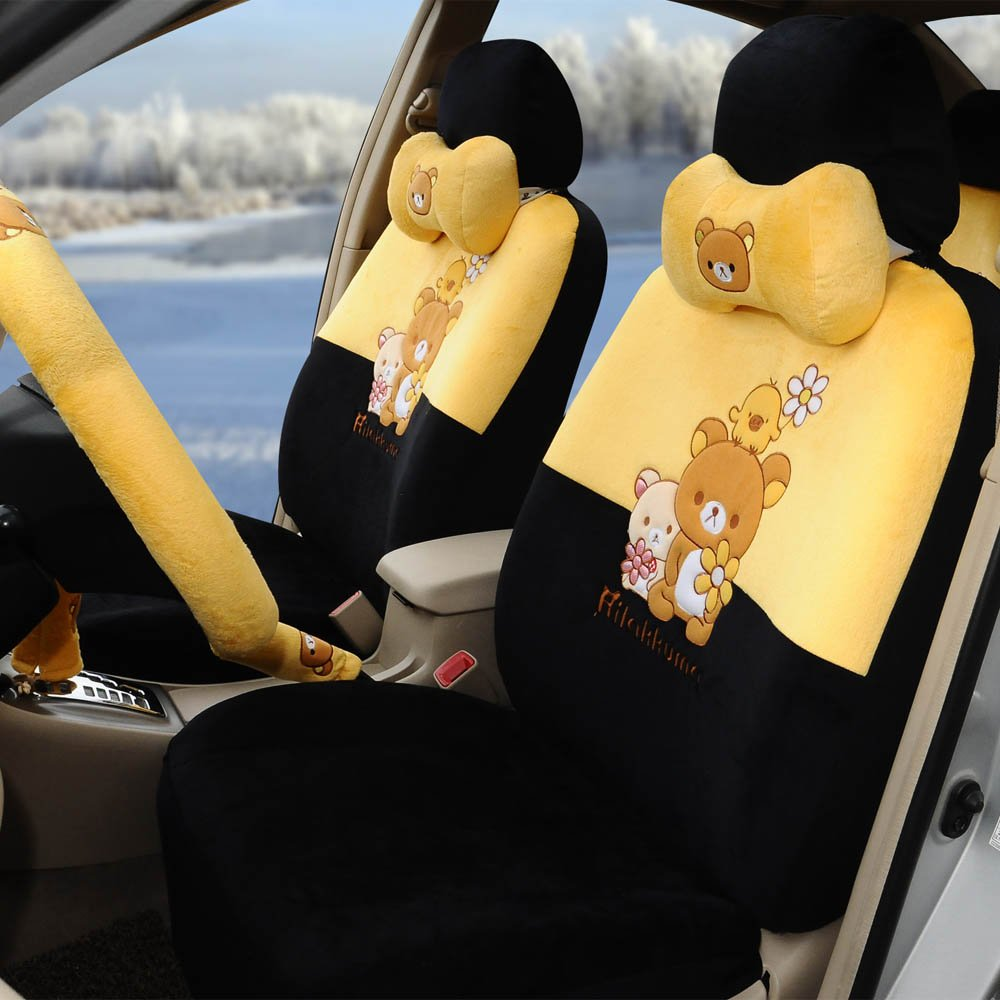 1 set automotive soft plush car seat covers car steering wheel cover universal car seat cushion by PPSEX