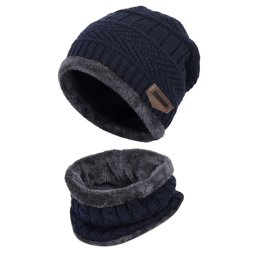 ZIQIAN Men Women Winter Warm Beanie Hat Scarf Set Knit Thick Skull Cap Ski Cap
