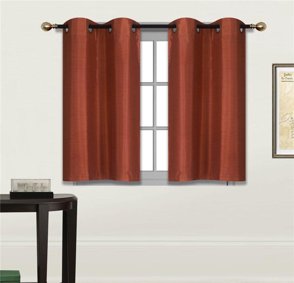 "Elegant Home 2 Panels Tiers Grommets Small Window Treatment Curtain Faux Silk Semi Sheer Drape Short Panel 28"" W X 36"" L Each for Kitchen Bathroom or Any Small Window # N25 (Brick/Rust)"