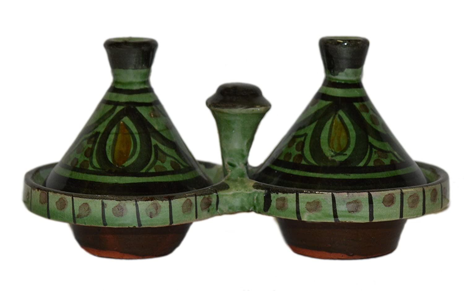 Moroccan Handmade Tagine Double Spice Holder seasoning Container Treasures of Morocco