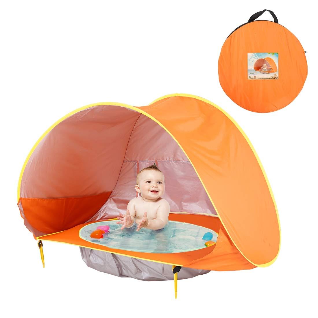 orange 117x79x70cm TENCMG Kids Beach Tent - Pop up Portable - Shade Pool UV Predection Sun Shelter for Kids