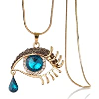 Devil's Eye Crystal Sweater Chain Big Eyes Teardrop Necklace