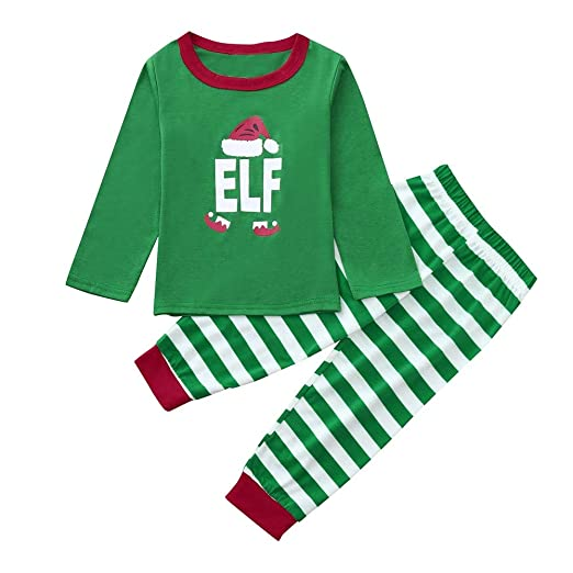 Family Matching Christmas Pajamas Sleepwear Letter Printed Long Sleeve Tops  Green Striped Pajamas Pant Set ( 8d38bbb45