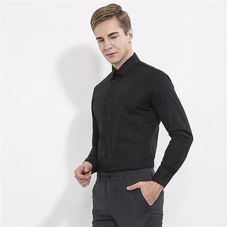 nvunskd Hombres Lavar Vestido Negro Manga Larga Camisa Negra ...