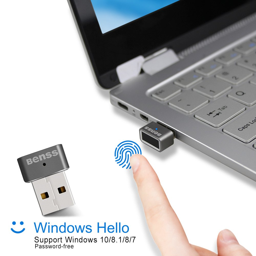 Benss Mini USB Fingerprint Reader Analyzer for Windows 7 8 10 Hello, Wireless Biometrics Computer Security Login Lock with WQHL Fido Certification for PC Laptop, 2 Years Warranty Grey