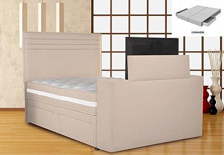 Chic Divan TV Bed-White Sand, Super King Size 6ft, Platform Top 2 ...