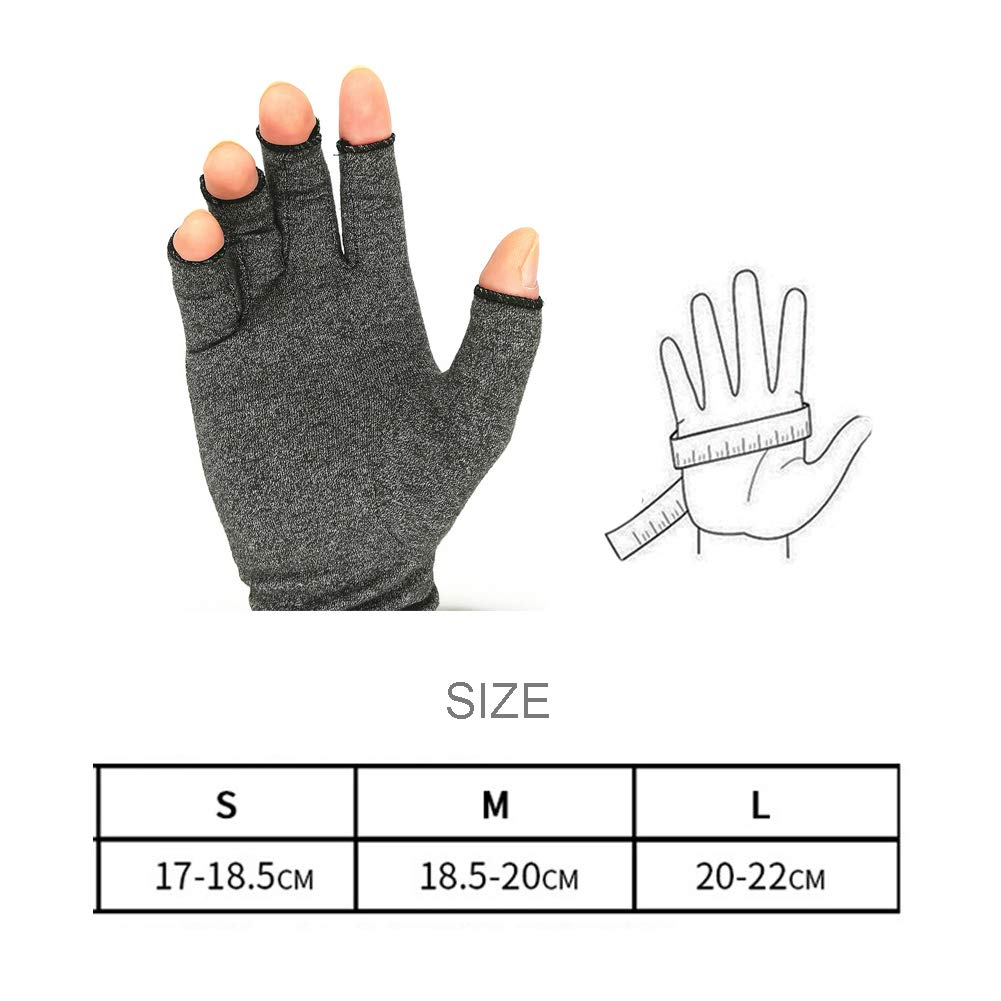 Arthritis Compression Gloves Relieve Pain from Rheumatoid, Carpal Tunnel, Hand Gloves Fingerless for Computer Typing and Dailywork(2 Pairs),S by SUN RDPP Arthritis Gloves (Image #7)