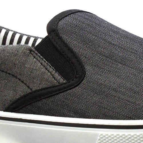 Red Fish Mens Black and Grey Slip On Canvas Black 3k1Wxd1h