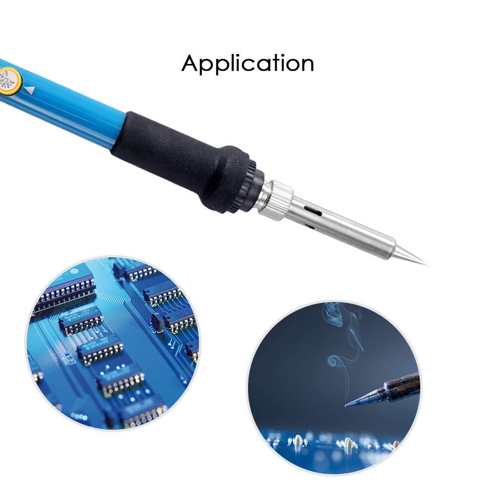 Montloxs Soldador el/éctrico de la soldadura de la temperatura ajustable 60W 5 extremidades de soldadura del reemplazo fijadas