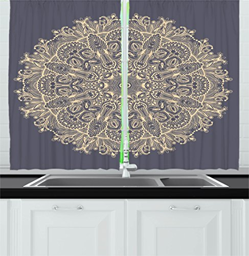 Ambesonne Mandala Kitchen Curtains, Asian Style Floral Mystery Deep Active Love Sun Moon Sign Boho Art Design, Window Drapes 2 Panel Set for Kitchen Cafe, 55 W X 39 L Inches, Cadet Blue Ivory