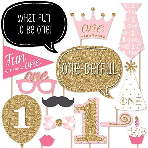 Big Dot of Happiness 1st Birthday Girl - Fun to be One - First Birthday Party Photo Booth Props Kit - 20 Count]()