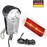 LIFEBEE LED Fahrrad Scheinwerfer Set, Frontscheinwerfer Dynamo StVZO Zugelassen Fahrradlicht Batterieleuchtenset IPX5 Wasserdicht Fahrradlampe Frontlicht/ Rücklicht mit Schalter(Doppel-Lichtkabel enthalten)