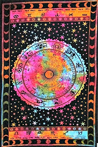 Tie Dye Zodiac Tapestry Horoscope Tapestry Wall hanging Dorm Decor Hippie tapestry Indian Astrology Trippy psychedelic Tapestry Bedspread Bedding Bed cover by Jaipur Handloom (Tapestry Altar Cloth)