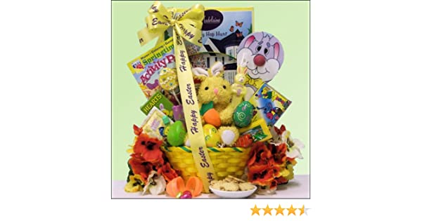 Amazon hoppin easter fun childrens easter basket boy or amazon hoppin easter fun childrens easter basket boy or girl ages 3 to 5 years old gift basket grocery gourmet food negle Images