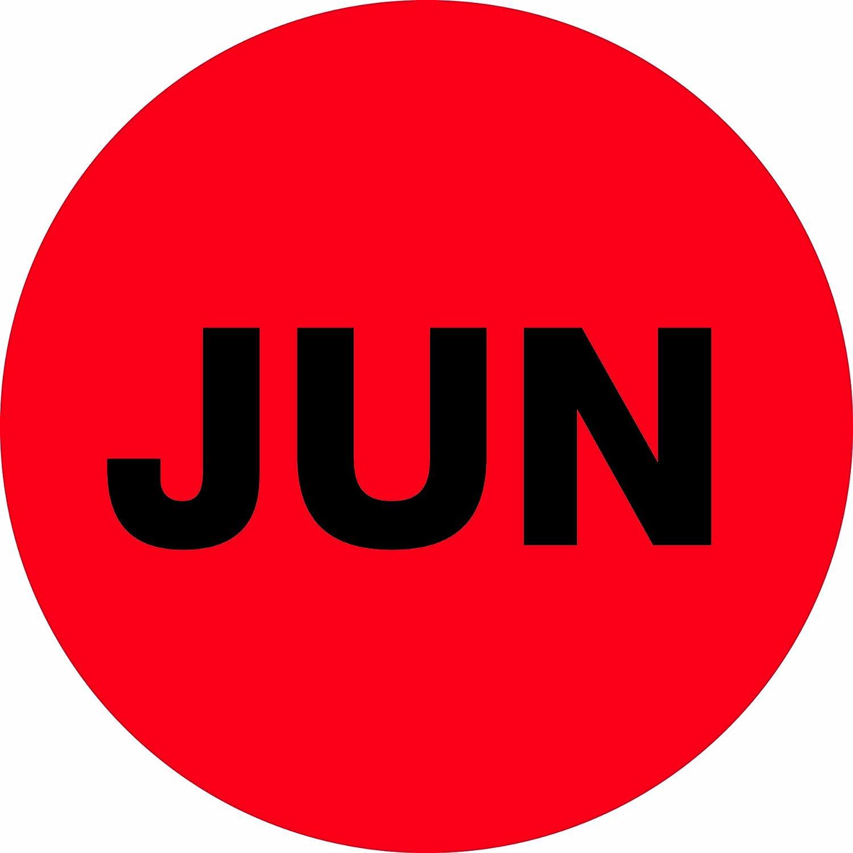 Red Tape Logic Pre-Printed Months of the Year Inventory Circle Label DL6740 LegendJUN 2 Diameter