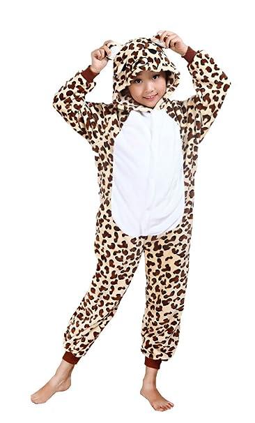 Cliont Animales de los niños Onesie del guepardo pijama de la ropa de noche de Navidad