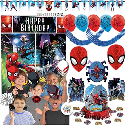 Spiderman Birthday Party Decoration Pack With Scene Setter, Photo Props, Hanging Honeycomb and Swirl Decorations, 6 Balloons, Table Decorating Kit, Add An Age Birthday Banner, Garland, Exclusive Pin]()