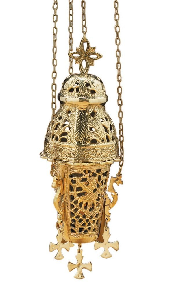 Stratford Chapel Polished Brass Ornate Hanging Insense Burner, 10 Inches